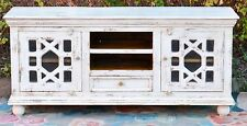 Rustic Shabby Chic White French Country Entertainment Unit Glass Door TV Stand