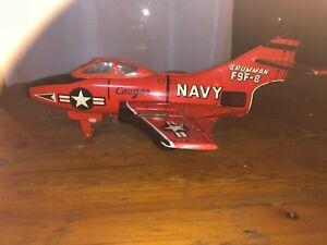 "Rare Vintage GRUMMAN F9F-8 ""Cougar"" US Navy Jet Fighter Tin Metal Model by ""K"" J"