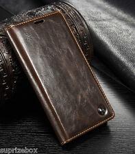 DE DISE�'O Piel Auténtica Retro Funda con Soporte tipo cartera Samsung S7 S8