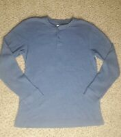 St. Johns Bay Men's Blue Long Sleeve Waffle Thermal Henley Shirt Size L