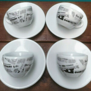 VINTAGE ESPRESSO CUPS SAUCERS SET NUOVA POINT ITALY WHITE PORCELAIN NEWSPAPER