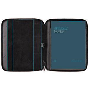 Porta bloc de notas en piel, A4, fino, con cremallera y lazo de lápiz Blue Squar