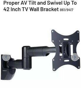 """PROPER AV up to 42"""" BLACK Multi Position Swivel TV Wall Mounting Bracket black"""