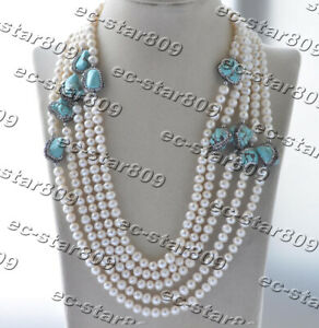 """Z11306 100"""" 18mm White Round Pearl Baroque Green Turquoise CZ Necklace"""
