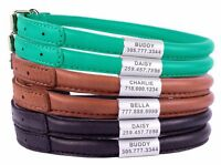 Personalized Rolled Leather Dog Collar Round Puppy Collars S M L XL Brown Black