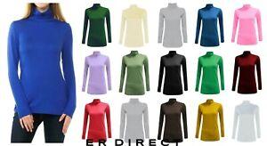 Women Long Sleeve Polo Neck Top Ladies Polo neck Turtle Neck Top T shirt 8-26