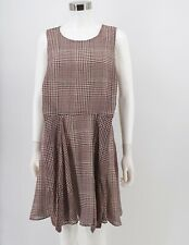 Maison Jules NWT Fit & Flare Dress Women Red Black Houndstooth Tie Front Size 10