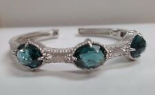 New Judith Ripka Calypso London Blue Spinel Sterling Silver Cuff Bracelet