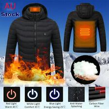 Mens Electric USB Heated Heating Coat Winter Zipper Jacket Padded Warm Hoodie AU