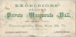 Thanksgiving 1871 Excelsior Second Private Masquerade Ball Lady Invitation Card