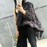 Fourrure Véritable de Lapin Manteau Court Vêtement D'hiver Veste pour Femmes