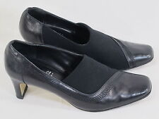 Amalfi by Rangoni Black Leather & Fabric Pumps Size 6.5 B US Excellent Italy
