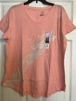 Tek Gear Essentials Xlarge Pink Butterfly Vneck Short Sleeve Shirt NWT