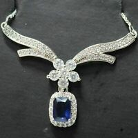 Sparkling Radiant Blue Sapphire Necklace Women Wedding Jewelry White Gold Plated