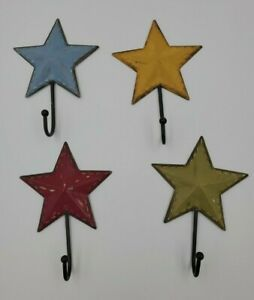 Star Wall Hook Hanger Metal Set Of 4 Red Green Yellow Blue Distressed