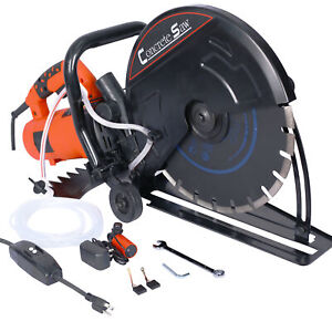 """Wet/Dry Concrete Saw Electric Cutter Guide Roller Cut Off Saw w/ 14"""" Blade"""