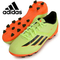 Adidas F10 TRX Hard Ground Lime Green Orange Moulded Studs Boys Football Boots