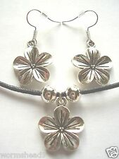 Hibiscus flower dark silver pendant black cord surf necklace & earrings set
