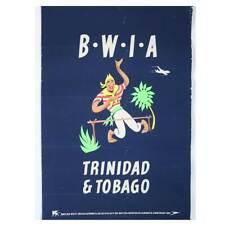 Vintage British West Indies Airline ALDO COSOMATI Advertising Poster, Trinidad &
