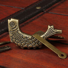 Locks Chinese Antique Style Bronze Made Available Lifelike Fish Lock Statue CO