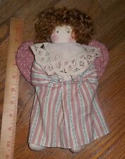 """Fabric Cloth Vintage Angel Doll Battenburg Lace Collar, Heart Wings 10"""" tall"""