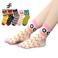 3D Animals Unisex Striped Cartoon Socks Women Owl Footprints Cotton Funny Socks