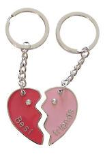 2 Porte-clés coeur à séparer inscription Best Friends, rouge/rose.