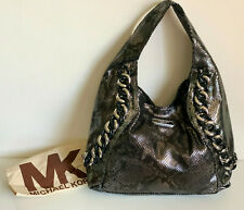 NEW! MICHAEL KORS MK ID CHAIN MEDIUM GUNMETAL LEATHER HOBO BAG PURSE $448 SALE