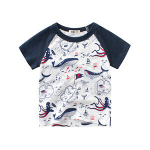 T-Shirt Girls Short Sleeves Tee Boys Collarless Top Cotton Cartoon Ocean Sea  ^