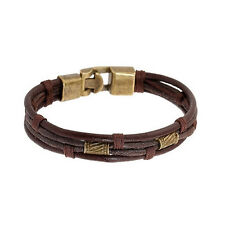 Sexy Sparkles Mens Vintage Leather Wrist Band Brown Rope Bracelet Bangle Braided