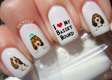 Basset Hound Nail Art Stickers Transfers Decals Set of 39