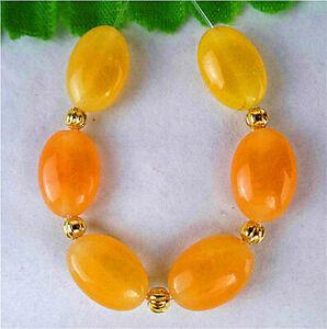 6Pcs 12x8x5mm Yellow Malay Jade Oval Height Holes Bead BT87223