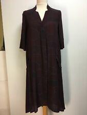 NWT Poetry silk lightweight crepe midi A-line tunic dress dark burgundy brown 10