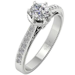 Round Cut Diamond Solitaire Engagement Ring I1 G 1.35 Ct Apprisal 14K Solid Gold