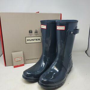 Hunter Original Short Gloss Dark Slate Gray Womens 11 Rain Boots