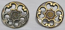 Two Vintage Pierced Chrysanthemum Round Brass/Bronze Drawer Pulls Knobs Handles