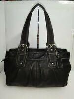 Coach Black Leather Soho Tote Handbag Shoulder Bag Zip-top Closure Purse - $378