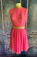 Vintage 1960s I Dream of Jeannie Hot Pink Mock Neck Chiffon Cocktail Dress SMALL