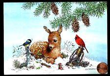 Christmas Giordano Deer Chickadee Cardinal Bird - Christmas Greeting Card New