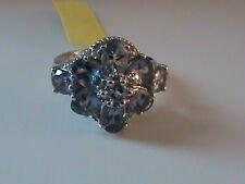 Bondi Blue Tanzanite & Diamond Ring Size 7.5 in Sterling Silver