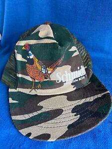 Vintage Schmidt Beer Snapback Mesh Truckers Hat Cap Camo Pheasant Scene Promo