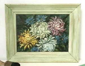 Original Vintage Flower Floral Mum Shabby Chic Painting Framed on Canvas SIGNED