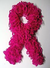 Hot Pink Hand Knitted Scarf made with Starbella Ruffle Yarn Free Shipping New