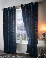Amelia Crushed Velour Floral Ready Made Fully Lined Eyelet Top Curtains Pair