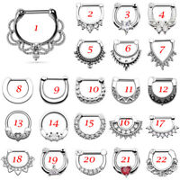 16g Surgical Steel Hinged Clicker Septum Daith Piercing White CZ Nose Ring