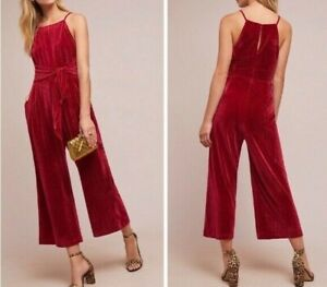 Anthropologie Evelyn Velvet Tie-Front Jumpsuit by Greylin $168 Sz XL - NWT