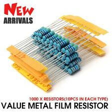 1000pcs 1% 1W 100 Value Metal Film Resistor Resistance Assorted Kit 1 ohm-1M ohm