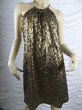 PURPLE PATCH gold sequined halter neck cocktail formal dress size 18 EUC