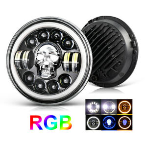 Skull Design RGB Color Chasing Hi Lo Beam Daymaker 7inch LED Headlight for JK JL