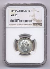 G.B./ENGLAND VICTORIA 1846 SHILLING CHOICE UNCIRCULATED COIN, NGC CERTIFIED MS63